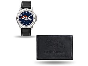 Nfl Denver Broncos Black Leather Watch & Wallet Set