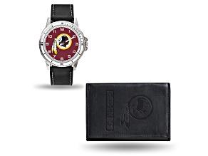 Nfl Washington Redskins Black Leather Watch & Wallet Set