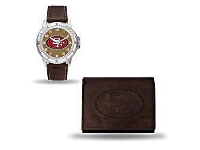 Nfl San Francisco 49ers Brown Leather Watch & Wallet Set