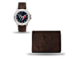 Nfl Houston Texans Brown Leather Watch & Wallet Set