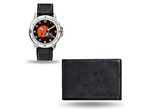 Nfl Cleveland Browns Black Leather Watch & Wallet Set