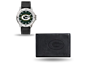 Nfl Green Bay Packers Black Leather Watch & Wallet Set