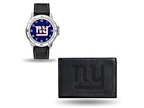 Nfl New York Giants Black Leather Watch & Wallet Set