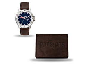 Nfl New England Patriots Brown Leather Watch & Wallet Set