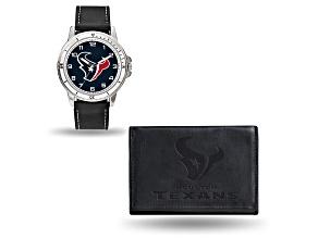 Nfl Houston Texans Black Leather Watch & Wallet Set