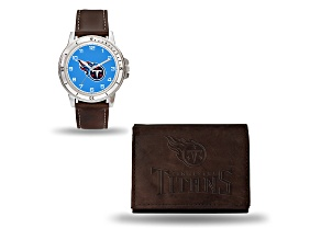 Nfl Tennessee Titans Brown Leather Watch & Wallet Set