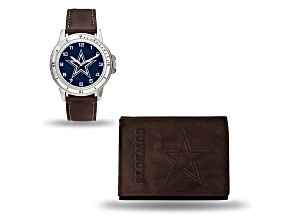 Nfl Dallas Cowboys Brown Leather Watch & Wallet Set