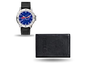 Nfl Buffalo Bills Black Leather Watch & Wallet Set