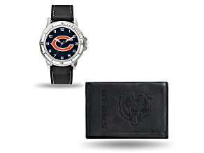 Nfl Chicago Bears Black Leather Watch & Wallet Set