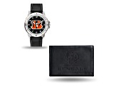 Nfl Cincinnati Bengals Black Leather Watch & Wallet Set