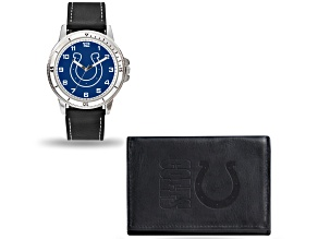 Nfl indianapolis Colts Black Leather Watch & Wallet Set