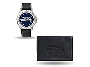 Nfl Seattle Seahawks Black Leather Watch & Wallet Set