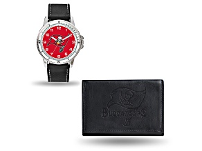 Nfl Tampa Bay Buccaneers Black Leather Watch & Wallet Set