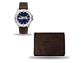 Nfl Seattle Seahawks Brown Leather Watch & Wallet Set