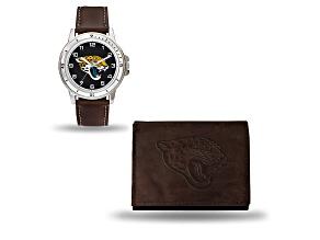 Nfl Jacksonville Jaguars Brown Leather Watch & Wallet Set