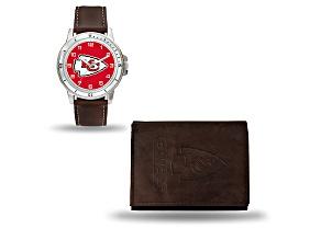 Nfl Kansas City Chiefs Brown Leather Watch & Wallet Set
