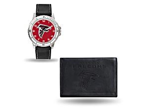 Nfl Atlanta Falcons Black Leather Watch & Wallet Set