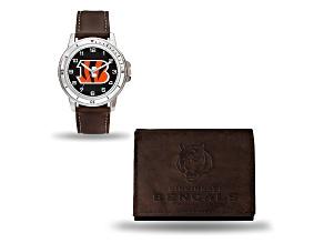 Nfl Cincinnati Bengals Brown Leather Watch & Wallet Set