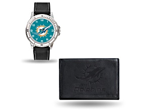 Nfl Miami Dolphins Black Leather Watch & Wallet Set