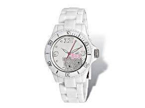 Hello Kitty® Mirror Dial White Acrylic Strap Watch