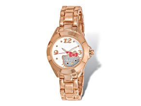 Hello Kitty® White Dial Rose Gold-Tone Alloy Watch