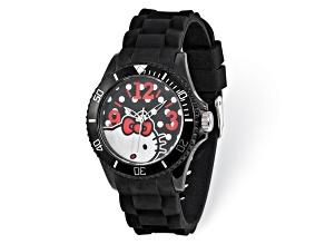 Hello Kitty® Black Dial Black Silicone Strap Watch