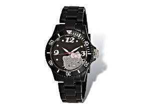 Hello Kitty® Black Dial Black Acrylic Strap Watch