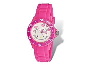 Hello Kitty® White Dial Pink Silicone Strap Watch