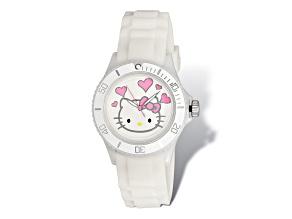 Hello Kitty® White Dial White Silicone Strap Watch