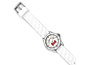 Hello Kitty® Silver Color W/Red Bow White Silicone Strap Watch