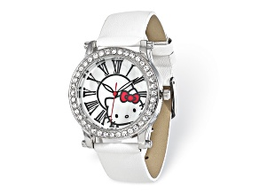 Hello Kitty® Pearlized Dial Crystal Bezel White Strap Watch