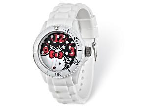 Hello Kitty® Black Dial White Silicone Strap Watch