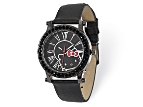 Hello Kitty® Black Dial Crystal Bezel Black Imitation Leather Watch