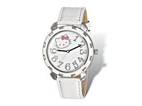 Hello Kitty® Silver-Tone White Enamel Imitation Leather Watch