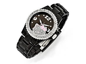 Hello Kitty® Black Dial Crystal Bezel Acrylic Case & Strap Watch