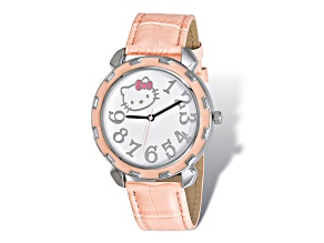 Hello Kitty® Silver-Tone Pink Enamel Imitation Leather Watch