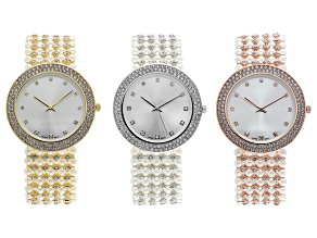 White Crystal Case And White Pearl Band Rose, Gold, and Silver Tone Base Metal Watches. Set of 3.