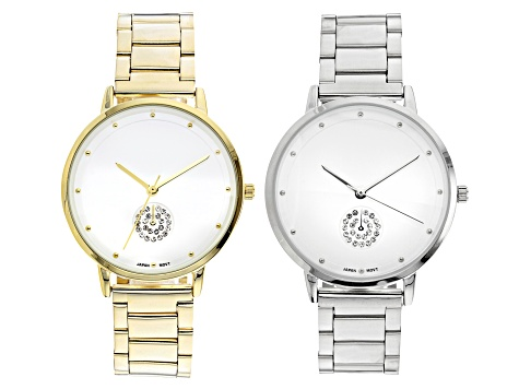 White Crystal Sub Dial Dial Gold Tone And Silver Tone Stainless Steel Band Watches. Set of 2