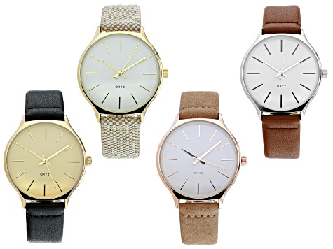 Gold Tone, Silver Tone, Rose Tone Case With Tweed  And Leather Band Watches. Set of 4.