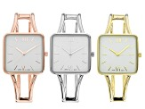 Rose Tone, Gold Tone, and Silver Tone Hinged Bangle Style Watches. Set of 3
