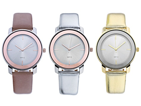 Ladies Silver and Gold Tone Alloy, Pink, Silver, and Gold Leather Band Watch Set of 3