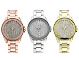 White Crystal Gold Tone, Silver Tone, And Rose Tone Watches. Set of 3