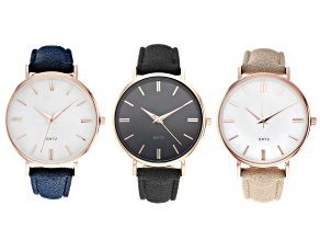 Ladies 35mm Rose Gold Tone With Black, Navy, and Taupe Band Watch Set of 3