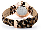 Ladies 35mm Rose Tone & Gold Tone Multi-Color Animal Print Leather Band Watch Set of 2