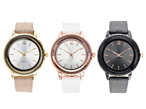 Ladies 37mm Rose Tone, Gold Tone, & Gun Metal With White, Black, & Beige Band Watch Set of 3