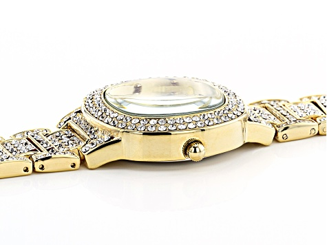 Ladies Gold Tone & White Crystal Watch