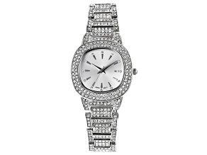 Ladies Silver Tone & White Crystal Watch