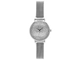 Ladies Silver Tone Stainless Steel Mesh Band With Magnetic Clasp & Crystal Watch