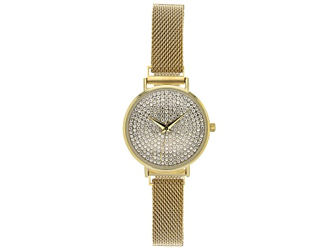 Ladies Gold Tone Stainless Steel Mesh Band With Magnetic Clasp & Crystal Watch