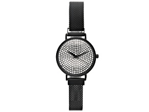 Ladies Black Tone Stainless Steel Mesh Band With Magnetic Clasp & Crystal Watch